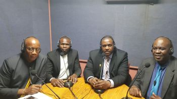 Left to Right: Host and Social Commentator Mr Claude O. Skelton-Cline on ZBVI 780AM on June 1, 2019, along with Minister for Transportation, Works and Utilities, Hon Kye M. Rymer, Premier and Minister for Finance, Hon Andrew A. Fahie, and Minister for Health and Social Development, Hon Carvin Malone. Photo: Team of Reporters