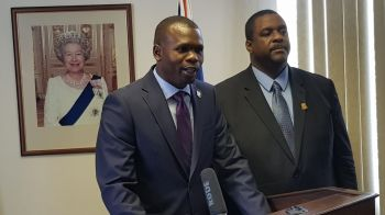 """""""I cannot forget my Honourable Premier, Andrew A. Fahie, you have held me up on your shoulders you have pushed me forward, you have inspired me and I am grateful for you being a mentor to me,"""" Hon Kye M. Rymer said in honouring the Premier for the giving him the opportunity. Photo: Team of Reporters"""