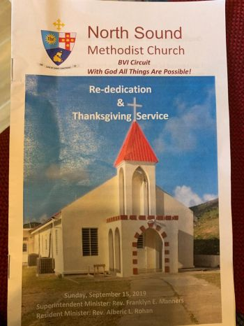 At the ceremony held on September 15, 2019, to rededicate the North Sound Methodist Church, Hon Vincent O. Wheatley said 'I am happy to see that after two years, the church is right back where it used to be in all its glory.' Photo: VINO