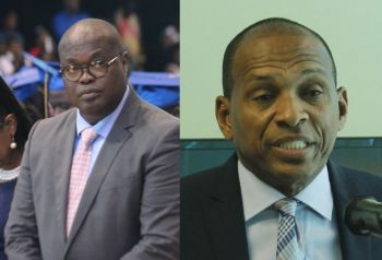 Premier and Minister of Finance Hon Andrew A. Fahie (R1) disclosed in the House of Assembly today, July 31, 2019 that $270,526.90 has been incurred as legal fees in the recent court battle between Fourth District Representative Hon Mark H. Vanterpool, right, and Speaker of the HoA Hon Julian Willock, left. $130,525.20 has already been paid. Photo: VINO/File