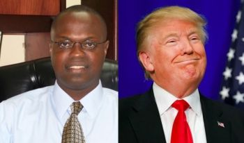 The Chairman of Advance Marketing and Professional Services, a local political consulting and marketing firm, Mr Julian Willock (left) has said that with Mr Donald J. Trump's (right) 'America first protectionist policies', it's too early to gauge how the Virgin Islands financial services sector will fare under his presidency. Photo: VINO/Internet Source