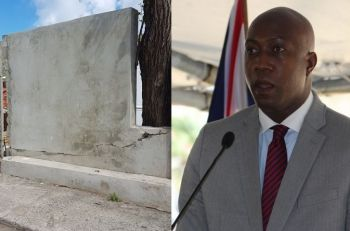 The status quo wing wing of the National Democratic Party (NDP) reportedly includes Hon Myron V. Walwyn (AL), right, the Education and Culture Minister who has his own leadership ambitions; however, is currently under investigation over a small wall, left, built around the Elmore Stoutt High School costing tax payers $1.6 M just before the 2015 general elections. Photo: VINO/File