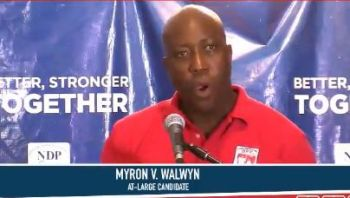 Meanwhile, Chairman of the NDP Hon Myron V. Walwyn (AL) again took swipes at his opponents in the Virgin Islands Party (VIP) telling youths that they are specially targeted by the party for manipulation in a desperate bid to win power at any cost. Photo: Facebook