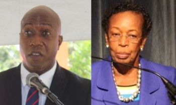 Minister for Education and Culture Hon Myron V. Walwyn (AL), left, has reportedly narrowed down a list for a possible new President of HLSCC to three candidates. The interim president is Dr Janet B. Smith (right). Photo: VINO/Facebook
