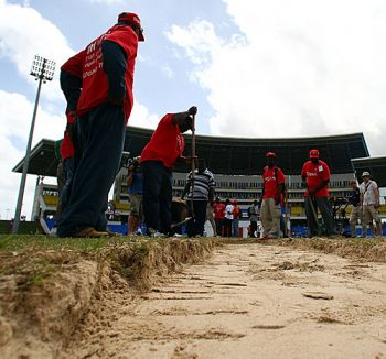 In 2009 the Antigua Test at the Sir Vivian Richards Stadium was abandoned after only 1.4 overs with the sandy outfield being deemed a safety risk to the players. Photo: Provided