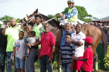 King Power in the Winner's Circle at the Pre-August Festival Races at Ellis Thomas Downs in Sea Cows Bay, Tortola on July 7, 2019. Photo: VINO