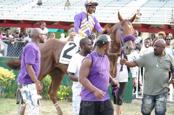 Thulean (#2 takes to the Winner's Circle after ending the unbeaten streak of Totally Evil in the feature clash at the Pre-August Festival Races at Ellis Thomas Downs in Sea Cows Bay, Tortola, on July 7, 2019. Photo: VINO