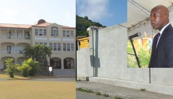 Many of Education Minister Hon Myron V. Walwyn's (right) critics have said the money spent on the Elmore Stoutt High School wall could have been better used to support the needs of H. Lavity Stoutt Community College. Photo: VINO/File