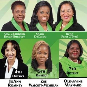 The Virgin Islands Party (VIP) boasts 6 women candidates on their slate, with three vying for District seats and three for At Large seats. Photo: VINO/File