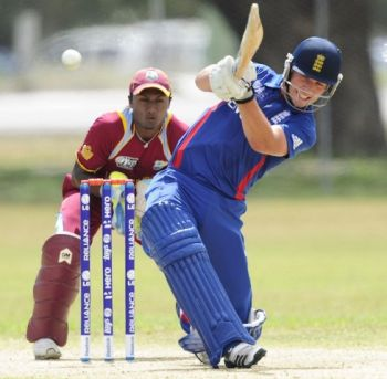 England's Sam Woods was on fire from ball one, hitting 7 sixes on his way to a match winning 104 from just 111 deliveries. photo credit: ICC