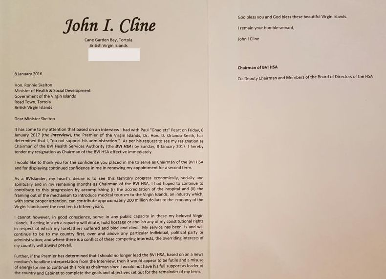 The resignation letter by Chairman of the BVI Health Services Authority, John I. Cline. The resignation letter was demanded by Premier Dr The Hon D. Orlando Smith. Photo: VINO